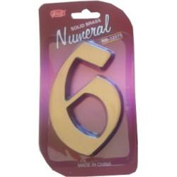 """Číslo fasádne """" 6 """" bronz 125mm"""
