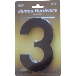 """Číslica """"3"""" fasádna 152mm čierna matná"""