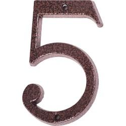 "Číslo "" 5 "" medený antik 120mm"